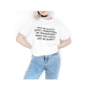 Fashion Letter Print Round Neck Short Sleeves Casual Tee