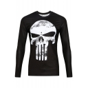 Skull Printed Round Neck Long Sleeve Slim Sports Tee