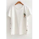 Potting Letter Embroidered Round Neck Short Sleeve Buttons Embellished Tee
