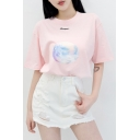 Fancy Planet Printed Letter Embroidered Round Neck Short Sleeve Tee