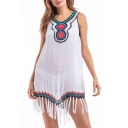 Retro Tribal Embroidery V-Neck Sleeveless Tassel Hem Mini Tank Dress