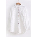 New Stylish Floral Embroidered Lapel Collar Long Sleeve Buttons Down Shirt