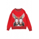Ethnic Cartoon Feather Pattern Round Neck Long Sleeves Pullover Sweater