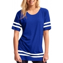 Contrast Striped Leisure Comfort Round Neck Short Sleeve Tee