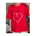 Graffiti Letter Heart Printed Round Neck Short Sleeve Leisure Loose Tee