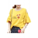 Floral Letter Embroidered Round Neck Cold Shoulder Ruffle Detail Short Sleeve Tee