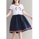 Popular Olive Leaf Letter Print Color Block Short Sleeve Mini T-shirt Dress