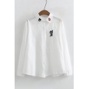 Chic Bear Cartoon Paw Embroidery Lapel Button Front Long Sleeve Shirt