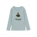 Penuins Letter Printed Striped Round Neck Long Sleeve Graphic Tee