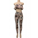 Daily Fashion Floral Print Off the Shoulder Ruffle Bandeau Top with High Waist Pants