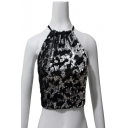Women's Fashion Sequined Design Halter Neck Ring Detail Open Back Cropped Cami