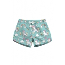 Cute Cartoon Rainbow Unicorn Printed Drawstring Waist Shorts