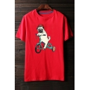 Cute Puppy Dog Cartoon Bike Print Round Neck Short Sleeves Casual Tee