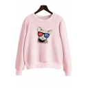 Hot Fashion Cat Cartoon Letter Print Round Neck Long Sleeves Pullover Sweatshirt