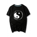 Leisure Tai Chi Pattern Printed Round Neck Short Sleeve Tee