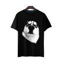 Cute Comic Huskie Printed Round Neck Short Sleeve Comfort Tee