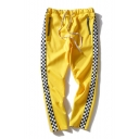Hot Fancy Plaids Pattern Drawstring Waist Zip Pockets Casual Pants