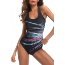 Colorful Firework Printed Round Neck Sleeveless Hollow Out Back One Piece Swimwear