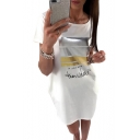 Summer Fashion Graphic Letter Print Short Sleeve Loose Mini T-shirt Dress