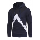 Chic Color Block Zipper Detail Drawstring Hood Long Sleeve Pullover Hoodie