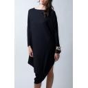 Leisure Plain Boat Neck Long Sleeve Asymmetrical Hem Loose T-shirt Dress