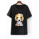 Cute Cartoon Letter Dog Print Round Neck Short Sleeves Summer T-shirt