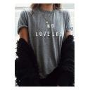 Simple Basic Letter Pattern Round Neck Short Sleeves Summer T-shirt