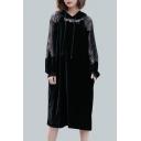 Chic Lace Panel Plain Drawstring Hooded Long Sleeve Loose Midi Velvet Dress