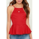 Women's Fashion Spaghetti Straps Plain Open Back Dipped Hem Peplum Cami Top