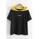 Color Block Hood Letter Printed Short Sleeve Comfort Tee
