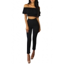 Casual Plain Off the Shoulder Ruffle Detail Cropped Top with High Waist Cropped Pants