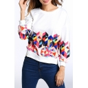 Fashionable Geometric Pattern Round Neck Long Sleeves Pullover Sweatshirt