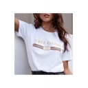 Cool Striped Letter Print Round Neck Short Sleeves Casual Tee