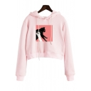 Lovely Black Cat Cartoon Print Long Sleeves Pullover Cropped Hoodie