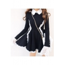 Lolita Style Contrast Lapel Collar Lace Insert Long Sleeve Mini A-Line Dress