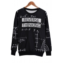 Equation Letter Printed Round Neck Long Sleeve Pullover Sweatshirt