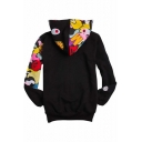 Street Style Printed Long Sleeve Leisure Zip Up Sports Hoodie