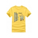 Comic Cartoon Character Letter Printed Round Neck Short Sleeve Graphic Tee