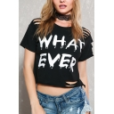 Chic Ripped Out Letter Printed Round Neck Short Sleeve Cropped Tee