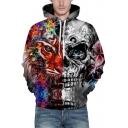 Unique Tiger Skull Print Long Sleeves Pullover Unisex Hoodie