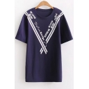 Striped Letter Printed Round Neck Short Sleeve Leisure Tee