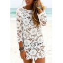 Floral Lace Round Neck Long Sleeve Tunic Beach Cover Up