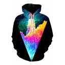 Pop Fashion Rocket Galaxy Print Long Sleeves Pullover Unisex Hoodie