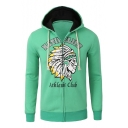 Fashionable Tribal Cartoon Letter Print Long Sleeves Zippered Hoodie