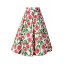 Spring's New Arrival Tulip Printed Zipper Fly Retro Midi A-Line Skirt