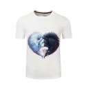Digital Two Lions Printed Round Neck Short Sleeve Unisex Tee