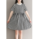Chic Striped Printed Stand Up Collar Buttons Down Short Sleeve Mini A-Line Dress