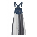 Girlish Denim Patchwork Color Block Embroidery Loose Mini Overall Dress