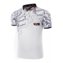 New Fashion Floral Print Pocket Button Detail Mock Neck Short Sleeve Tee