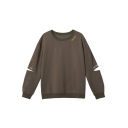 Women's Fashion Letter Pattern Hollow Out Elbow Round Neck Pullover Sweatshirt